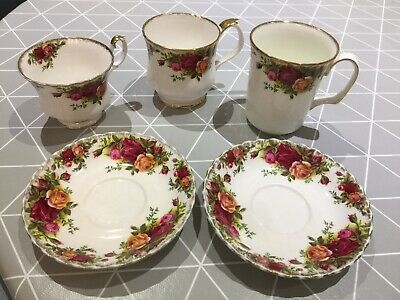 Collection of Royal albert old country roses items coffee cups tea cups saucers