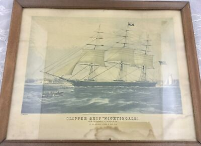 Vintage Clipper Ship Nightingale Framed Lithograph Print 1854 Currier Parsons...