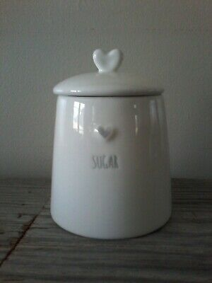Potter's Studio ceramic white sugar bowl with heart on top farmhouse