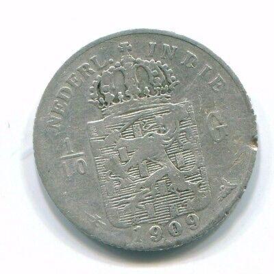 1909 Netherlands East Indies 1/10 Gulden Silver Colonial Coin Nl13243#3