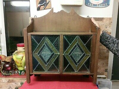 Antique Oak Wall Cabinet.  Vgc