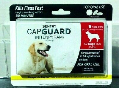 Cap Guard (Nitenpyram) 57.0 mg Oral Flea Treatment for Dogs over 25lbs 6 Tablets