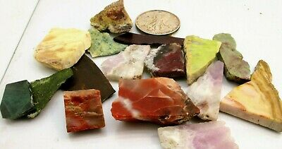 EXCELLENT small SLAB Collection 1/2 Lb Mix Natural Gems Crystals Specimens rough