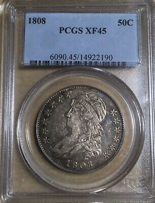 1808 PCGS XF45 PQ! Capped Bust Silver Half Dollar