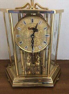 Vintage Kundo Hexagon Etched Glass Clock Papers Battery