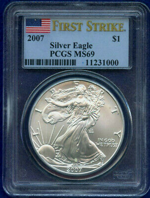 2007 American Silver Eagle - MS69 PCGS First Strike.
