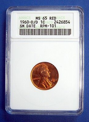 1960-D/d Lincoln Cent. Anacs Cert. Ms65 Red. Variety Small Date Rpm-101