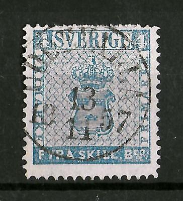 SWEDEN 1855 Used 4 Skill Blue Yvert #2 CV €100