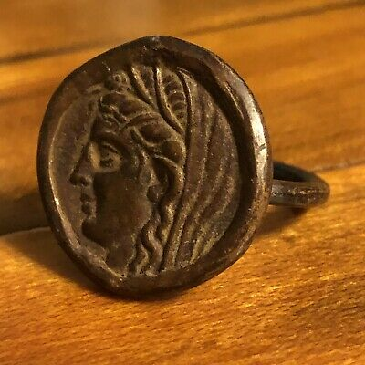 Ancient Greek Or Roman Coin Ring Artifact Antique Old Wax Seal Emperor 100-350AD