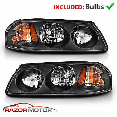 2000 2001 2002 2003 2004 2005 Replacement Black Headlights Pair For Chevy Impala