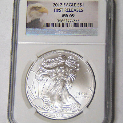 NGC MS69 2012 American Silver Eagle .999 Fine Silver Dollar First Releases
