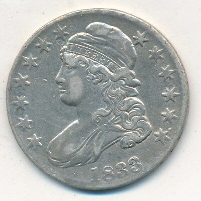 1833 Capped Bust Silver Half Dollar-Very Nice Circulated Half-Ships Free!