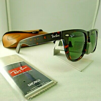 41db4f2b6c494 Ray-Ban Rb2140 902 Wayfarer Tortoise With Green Classic G-15 Sunglasses  54Mm New