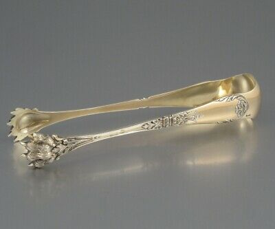 """Antique French Sterling Silver & Vermeil Gold Sugar Tongs, """"Tallois & Mayence"""""""