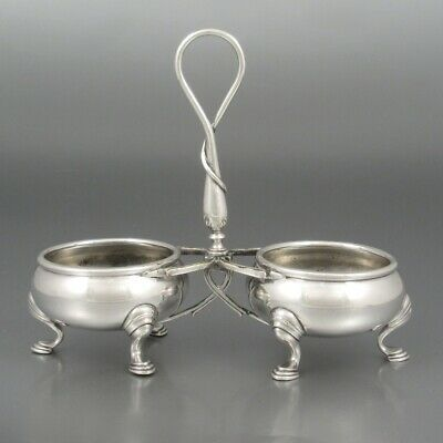 Antique French Art Nouveau Silver Plated Salt Pepper Cellar, Signed Cailar Henry