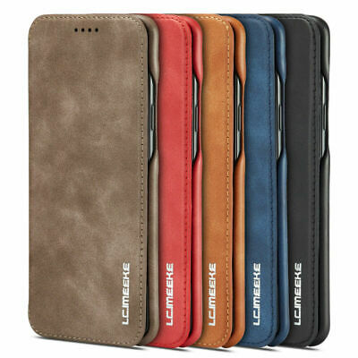 For Samsung S9 S8 Plus Note 8 Flip Magnetic Leather Case Card Wallet Cover Stand