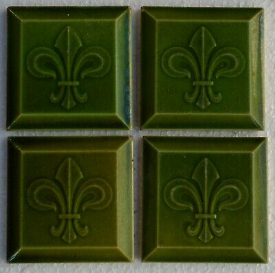 Belgium Antique Art Nouveau Majolica 4-Set Tile C1900