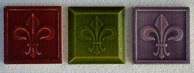 Belgium Antique Art Nouveau Majolica 3-Set Tile C1900