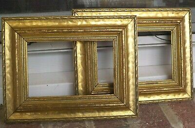Vintage American SMALL GILT GOLD Carved WOOD Miniature Pair of FRAMES c1920-30s