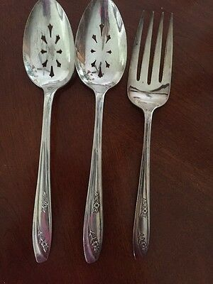 Wm Rogers Silverplate Fork & 2 Slotted Serving Spoons Lady Fair 1957