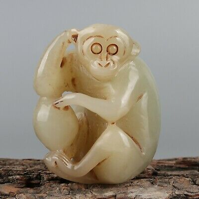 Chinese Exquisite Hand-carved monkey Carving Hetian jade statue