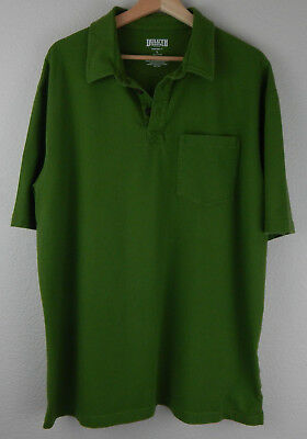 Duluth Trading Co. Mens Green Size Large Polo Shirt Longtail Short Sleeve Pocket