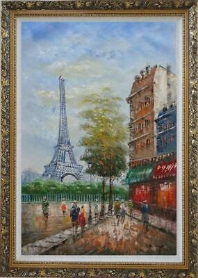 42x30 Framed Oil Painting Visitors Walk around Paris Eiffel Tower in Early 20th