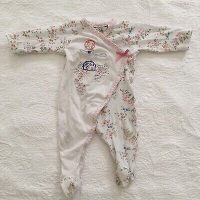 BABY GIRLS Size 00 Bebe by Minihaha Romper One Piece Floral Embroidered Stretch