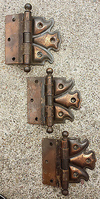 "Set 3.5"" Antique Vintage Antique Half Surface Door Ball Strap Hinge 3/8"" Offset"