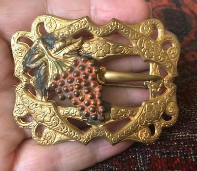 Antique Victorian Sash Brooch Pin Repousse Purple Bunch of Grapes Brass Buckle