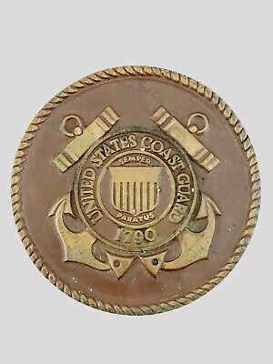 1790 Vintage United States Coast Guard Brass Round Emblem PlaqueDesk Coaster 4""