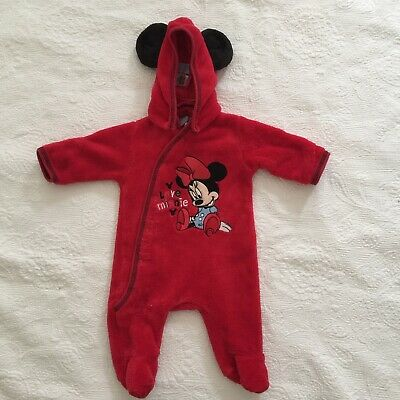 BABY GIRLS Size 000 Red Minnie Mouse Romper Playsuit Disney Removable Hood