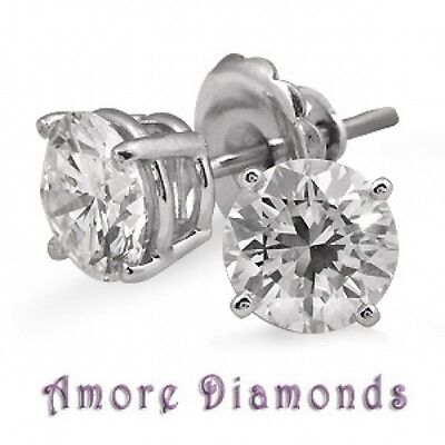 2.5 ct F SI natural round diamond 4prong stud earrings 14k white gold push back