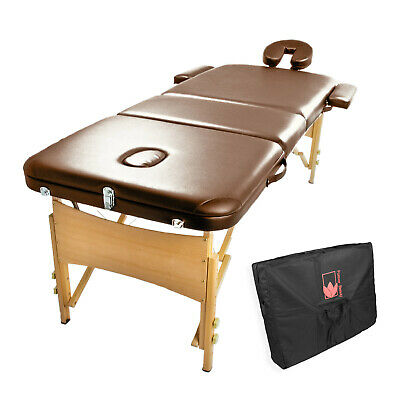 Massage Table Portable Aluminium/Wooden3 Fold Bed Therapy Waxing 75cm