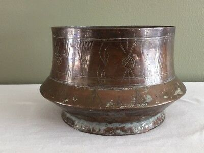 Vintage Rustic Folk Art Hand Made Brass Planter/Bowl With Etchings