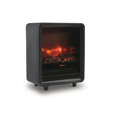 Crane Mini Fireplace Heater 1500-Watt Cool Touch Realistic Embers Flame Black