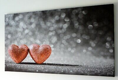 Peach Hearts On Black And White Canvas Print Wall Art  Picture 18 X 32 Inch