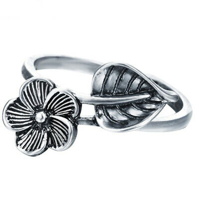 Leaf Flower 925 Antique Silver Open Rings for Women Retro Style Jewelry Gifts