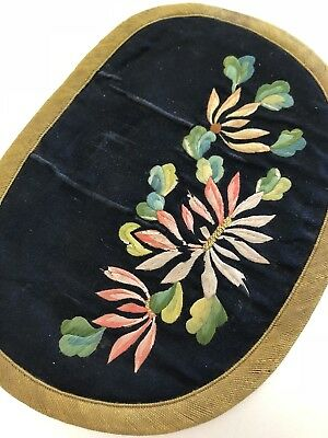 Antique Qi'ing 19 /20Th Chinese Embroidered Silk Purse Pouch Wallet Flowers