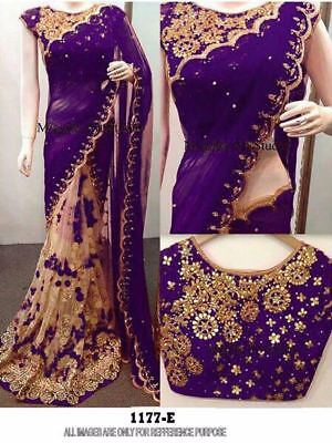 Readymade  gerogatte n net  saree  cotton blouse with front n back Embroidered