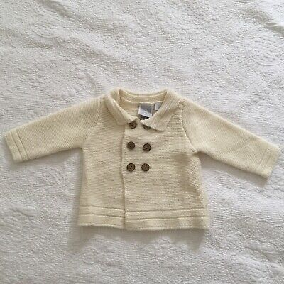 BABY Size 00 Baby World Double Breast Knit Jacket Cream Faux Wood Buttons