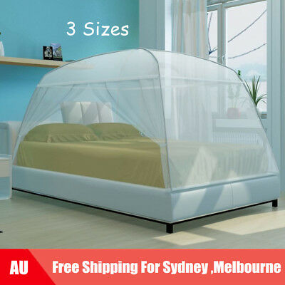 Mosquito Net Bed Canopy Insect Screen Dome Curtain Door Mesh White 3 Sizes P7M2