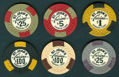 COMPLETE SET (6) CASINO CHIP HOTEL ST. JOHN'S Decade to 1940-50's GAMING VEDADO