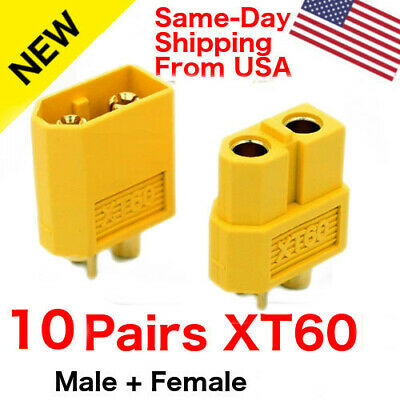 10 pairs XT60 XT-60 Male Female Gold Plated Bullet Connectors RC Lipo Plugs USA