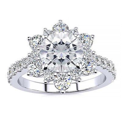 Flower Style Engagement Women Ring 2.50ct Round Cut Diamond 10k Real White Gold