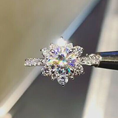 1.50ct Round Cut Diamond Flower Style Engagement Women Ring 10k Real White Gold