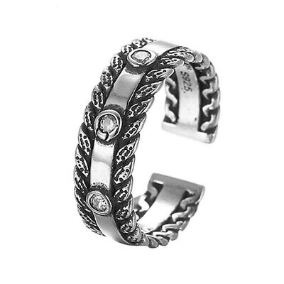 Antique 925 Silver Jewelry with Stones Rings for Women CZ Crystal Wedding Band