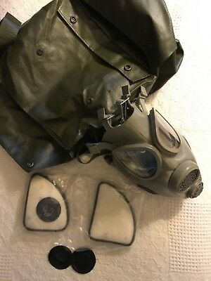 Vintage Czech Chemical-Biological Gas Mask Hood Carrying Bag & Filters