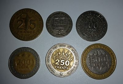 6 different coins West African States incl 3 bi-metallic types up to 500 Francs