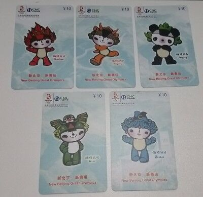 Beijing Olympics 5 different old used phonecards